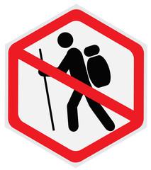 No, hiking, sign, hexagon