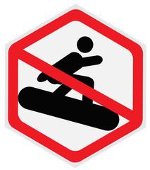 No snowboarding sign, hexagon
