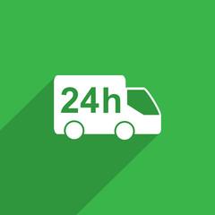 twenty four hour delivery web icon.