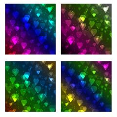set of heart bokeh background