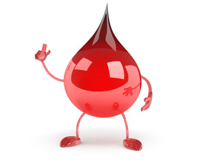 Red Blood Drop Cartoon Character Showing Muscle Arms