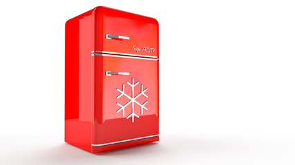 Retro Fridge refrigerator in red retro color.