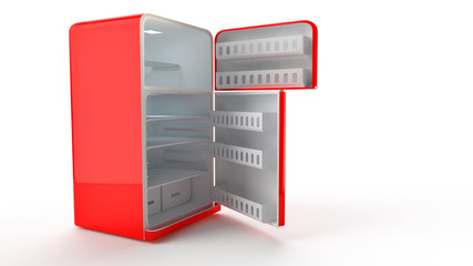 opened Retro Fridge refrigerator in red retro color