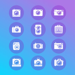 Vector photo camera retro and new icon set