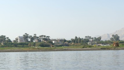 Nile river landscape - view from boat 4k