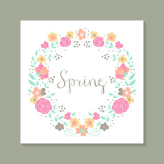 Floral background with flower wreath