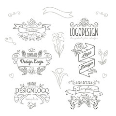 Set of logo design hand drawing elements with flowers and banner