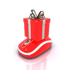 Red gift Box with mouse and gray Ribbon