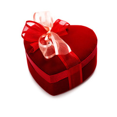 red love heart gift box