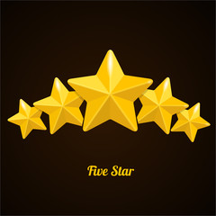 Vector rating with five stars concept on black