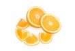 Постер, плакат: Апельсин с дольками на белом фоне