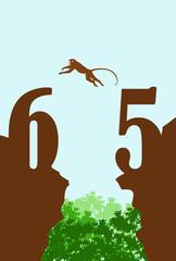 崖を渡るサルと森