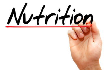 Hand writing Nutrition with marker, concept