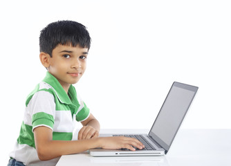 Indian School Boy with Laptop