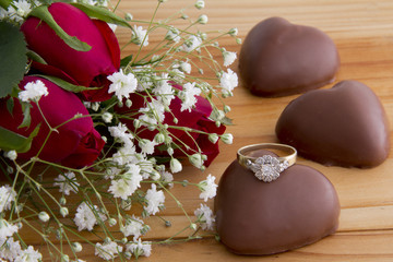 Roses, Heart Chocolates and Ring