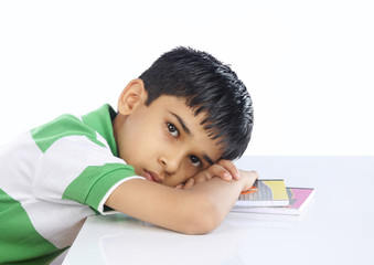 School Boy Sleeping on Book