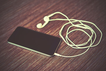 smart phone mobile phone and headphones