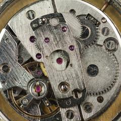 Old rusty clockwork. Macro shot.