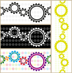 gears on the background with spots, set