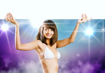 Bikini girl presenting something