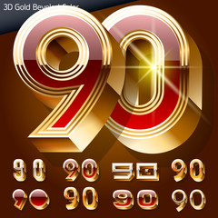 Golden 3D beveled and coloured font. Numbers 9 0