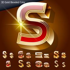 Golden 3D beveled and coloured font. Letter s