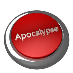 Apocalypse button isolated over white, 3d render