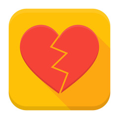 Crash heart app icon with long shadow