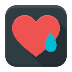 Crying heart app icon with long shadow