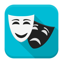Drama mask app icon with long shadow