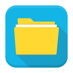 Folder with paper flat app icon with long shadow