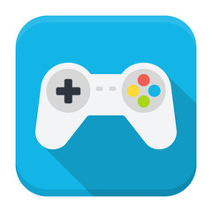 Game console flat app icon with long shadow