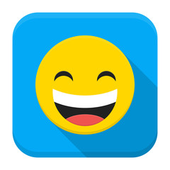 Laugh yellow smile flat app icon with long shadow
