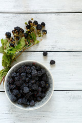 Forest blackberries in a bowl on wooden boards
