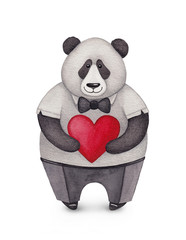 Watercolor illustration of Panda. Perfect for Valentine greeting