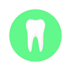 Icon tooth on a green background round