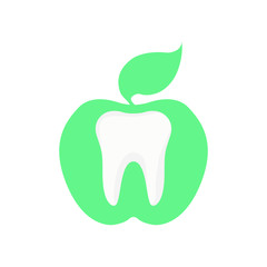 Icon tooth on a green background in the form of a round apple.
