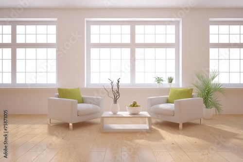 white 3d interior design poster