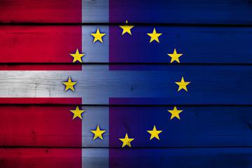 Denmark and European Union Flag on wood background