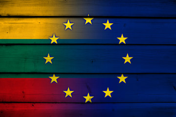Lithuania and European Union Flag on wood background