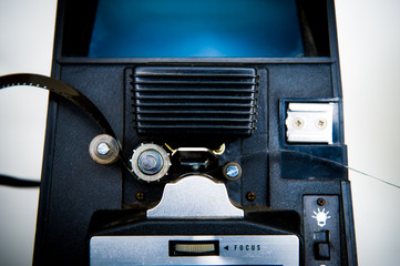 8mm editing machine detail with film