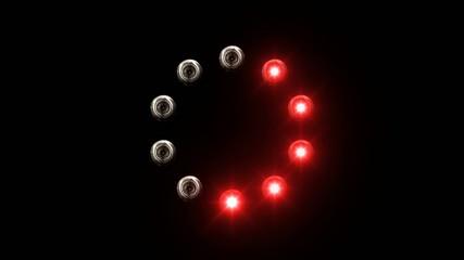 light loading bar - 30fps - radial, red lights