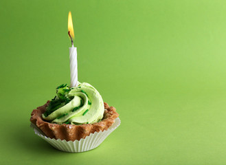 Birthday cup cake with candle on  green background