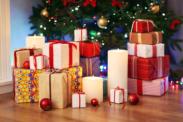 Pile of present boxes under Christmas tree