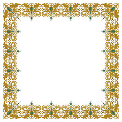 square ornament with traditional medieval elements isolated