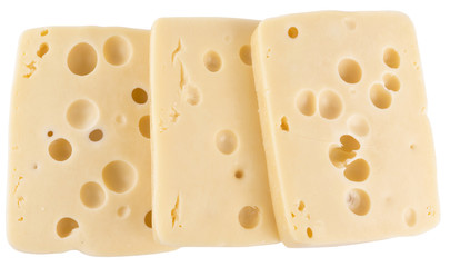 Yellow cheese with holes isolated