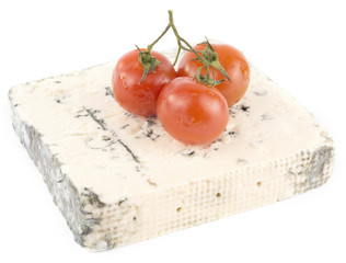blue cheese with cherry tomatoes on the top