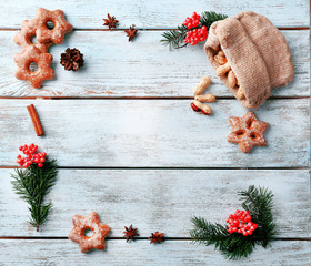 Cookies with nuts and sprigs of Christmas tree