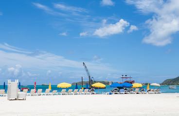 Beach Umbrellas and Crane