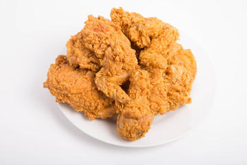 Fried Chicken on a White Plate on White Counter